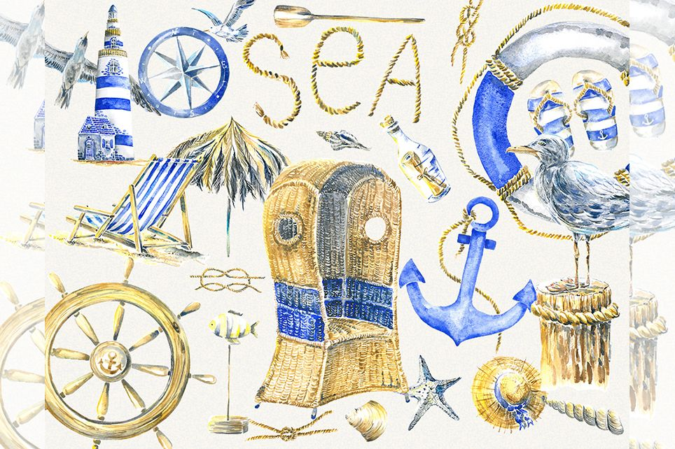 Vacation clipart, summer clipart, watercolor sea clipart example image 1