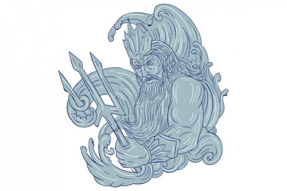 Poseidon Trident Waves Drawing example image 1