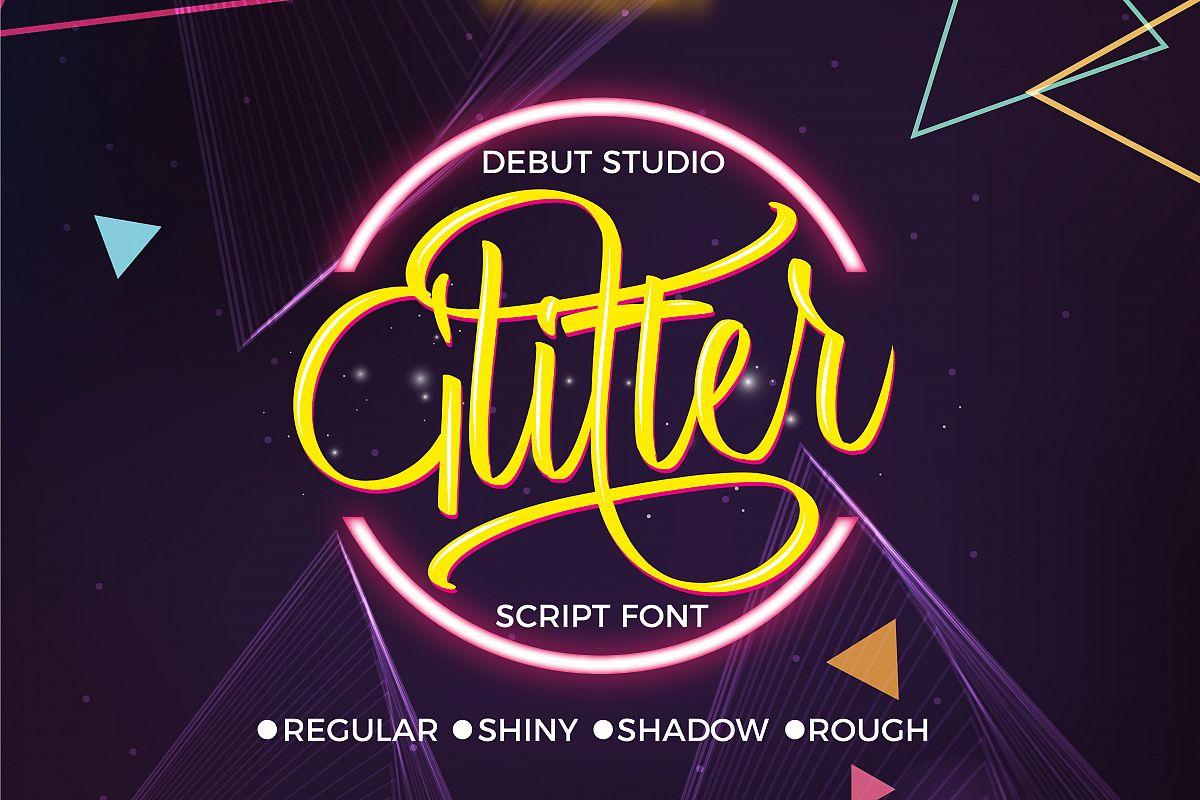 Glitter Script Font (30% Off) example image 1