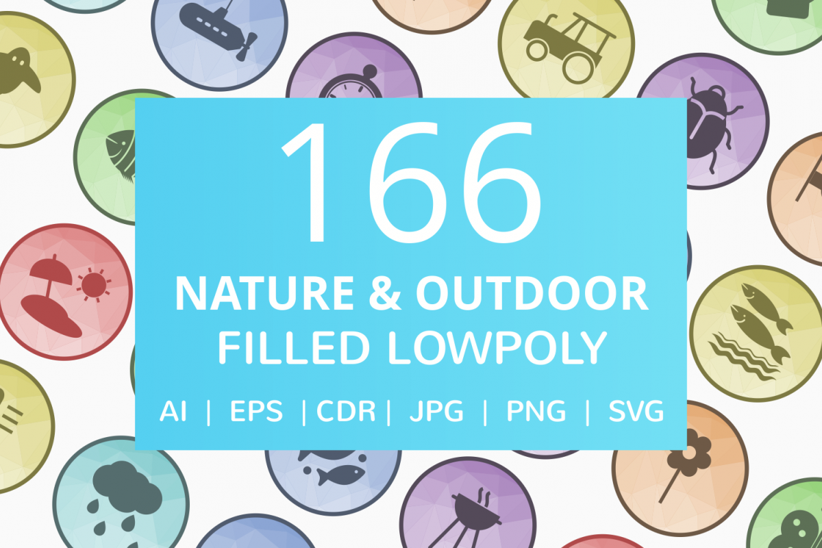 166 Nature & Outdoor Filled Low Poly Icons example image 1