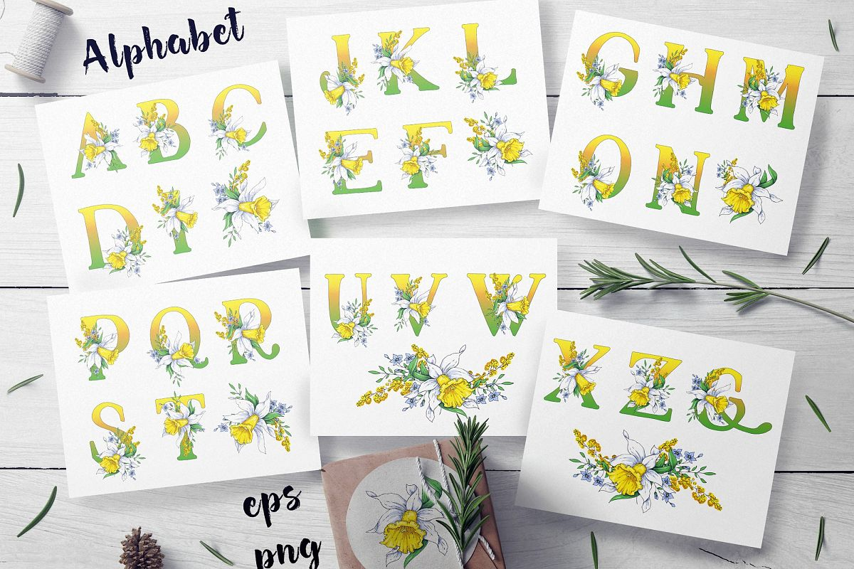 Daffodils  – spring alphabet and wreath example image 1