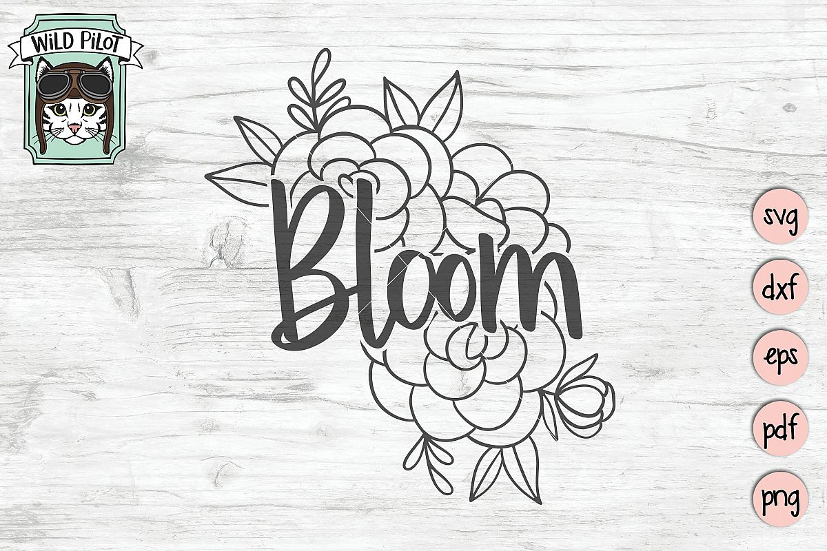 Bloom SVG file, Bloom cut file, Flowers, Floral, Religious example image 1