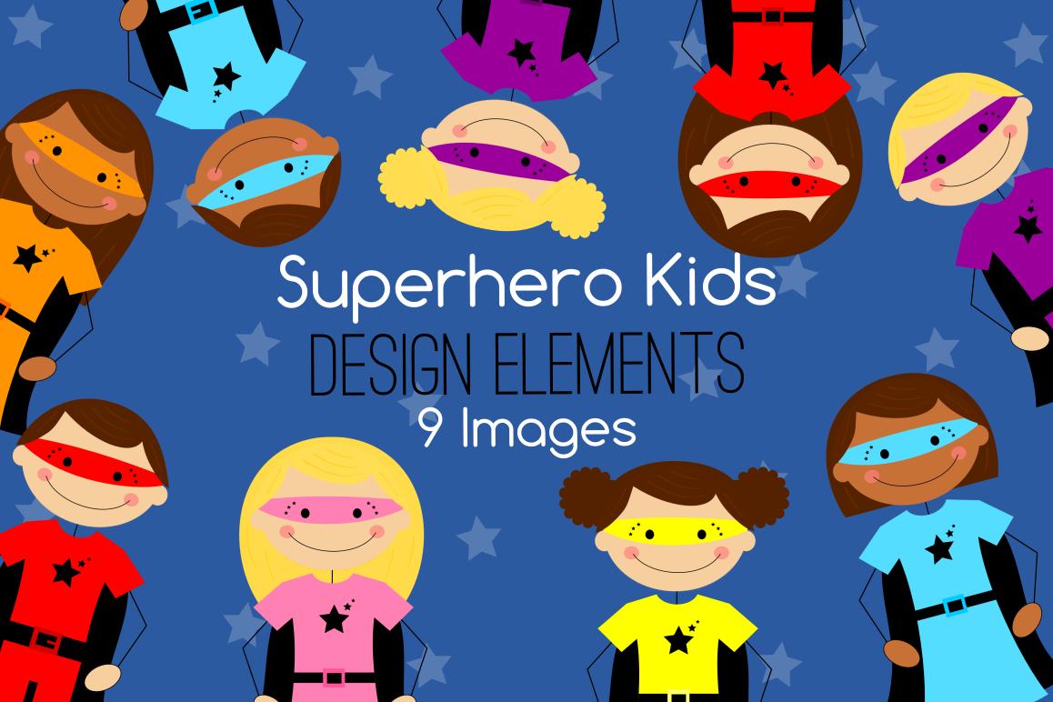 Stick Figure Superhero Kids Graphics, Illustrations, Clipart
