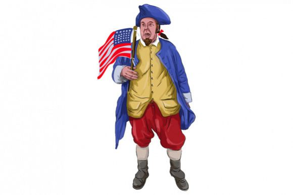 American Patriot Shouting Holding Flag Watercolor example image 1