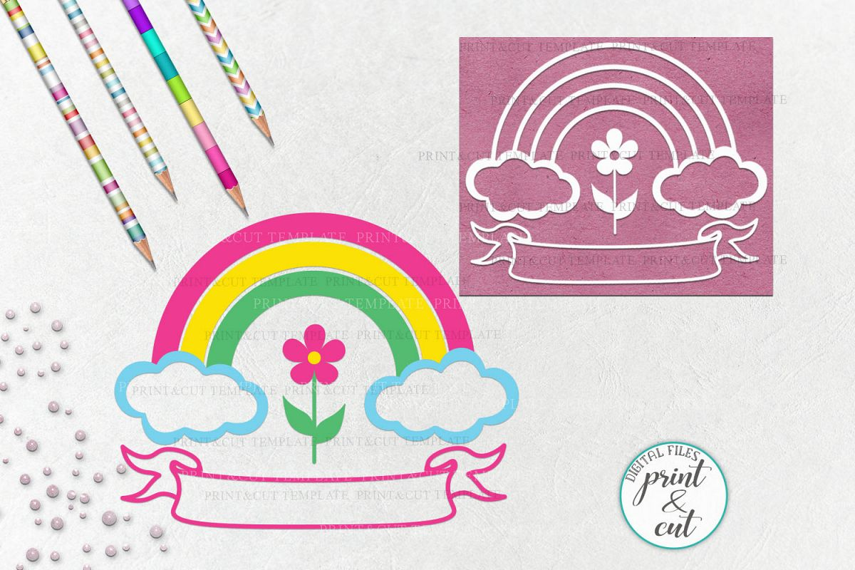 Birthday Rainbow with Ribbon to add name svg dxf to cut file example image 1