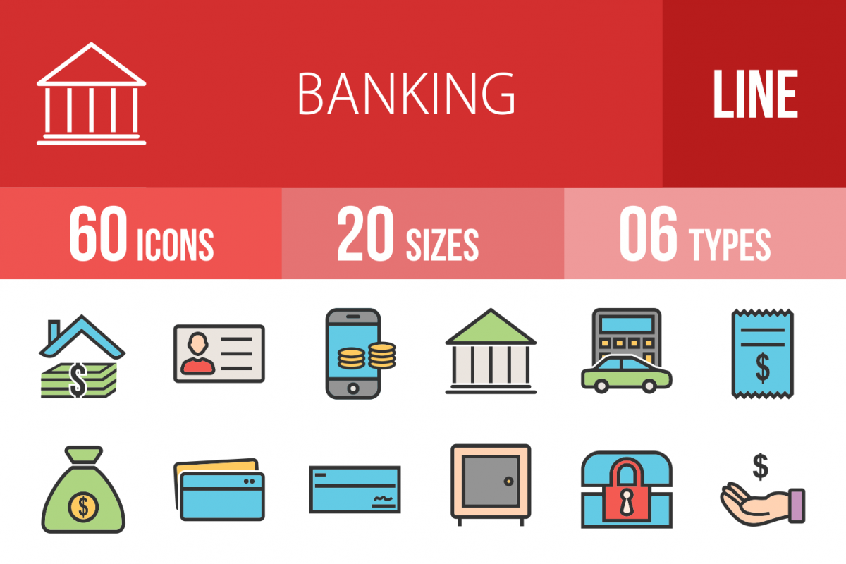 60 Banking Linear Multicolor Icons example image 1