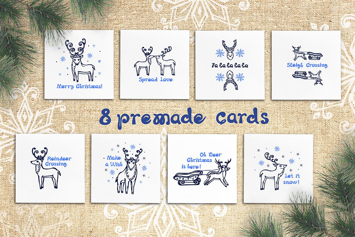 8 hand drawn greeting cards with Christmas deer example image 1