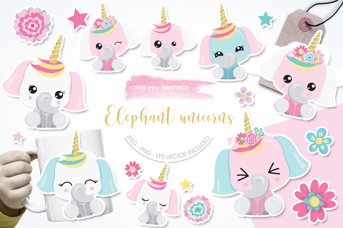 Elephant Unicorn graphic and illustrations example image 1