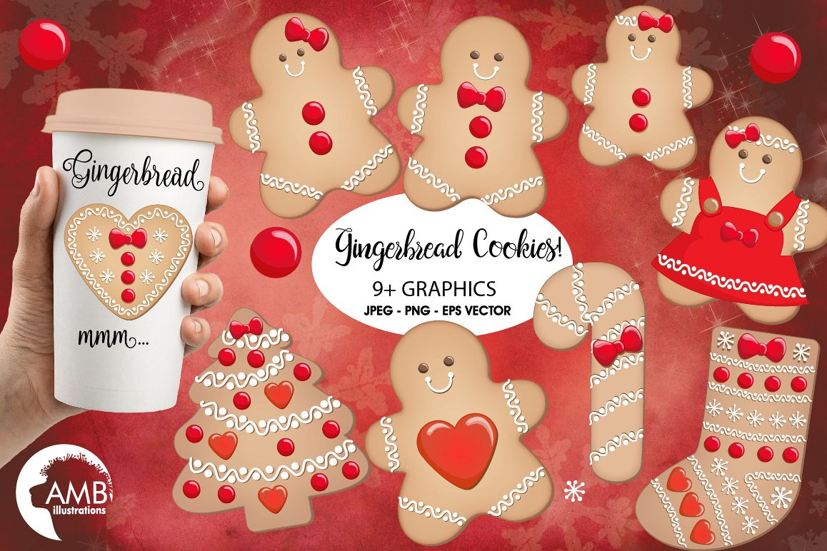Christmas Cookie Clipart, GRAPHICS, ILLUSTRATIONS AMB-1502 example image 1