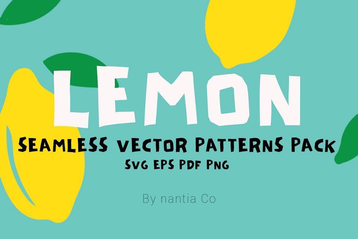 Lemon Seamless Vector Patterns Pack example image 1