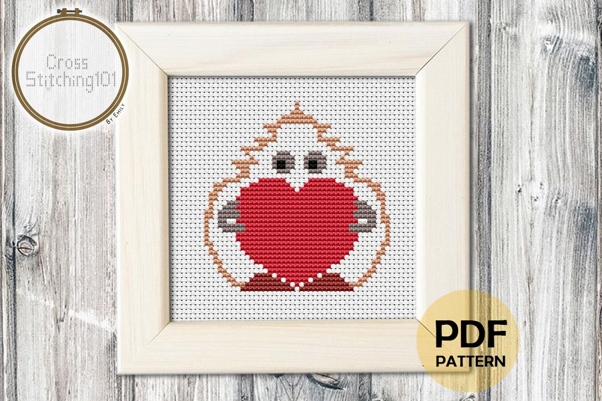 Mascot Holding Heart Cross Stitch Pattern- Instant Download example image 1