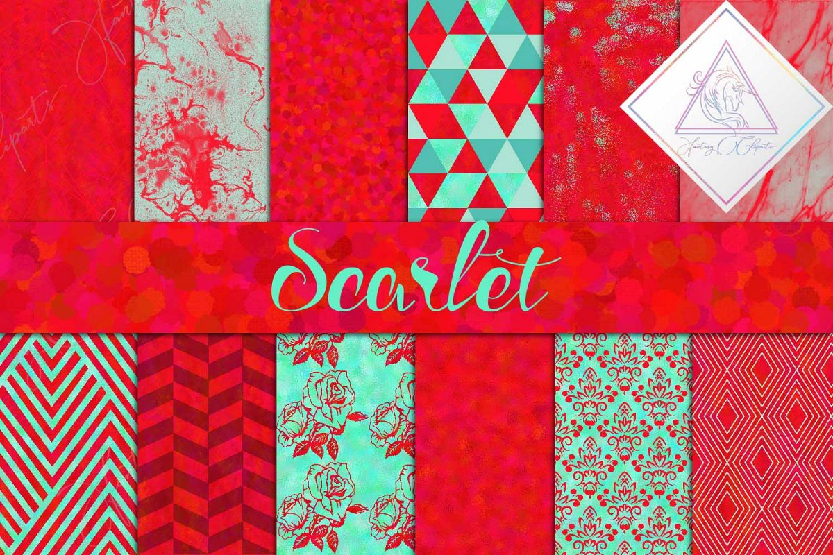 Watercolor Scarlet Digital Paper example image 1