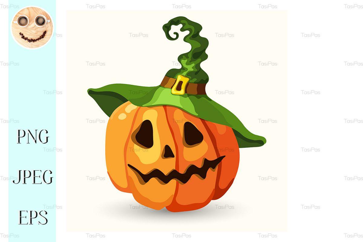 Halloween Pumpkin Cartoon Images.Cartoon Halloween Pumpkin Wearing Witch Hat
