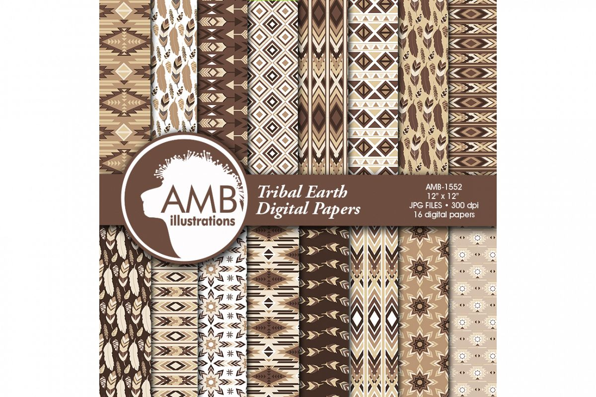 Arrows Tribal, Feathers Digital Papers, Tribal brown and beige Papers, Aztec papers, Arrows Triangles, instant download, AMB-1552 example image 1