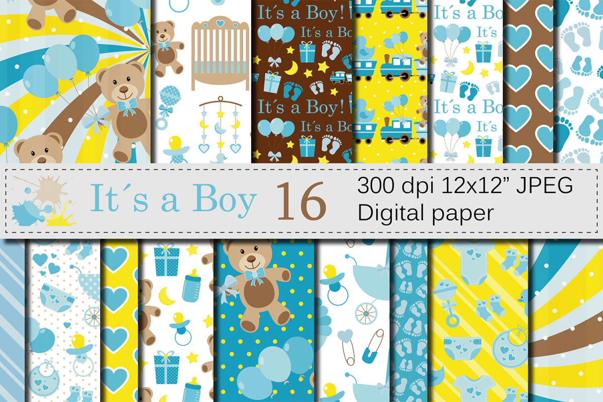It`s a Boy Digital Paper Pack / Baby Boy Blue Digital Papers / Baby Shower  backgrounds / Scrapbooking Printable Papers / Nursery Digital Paper