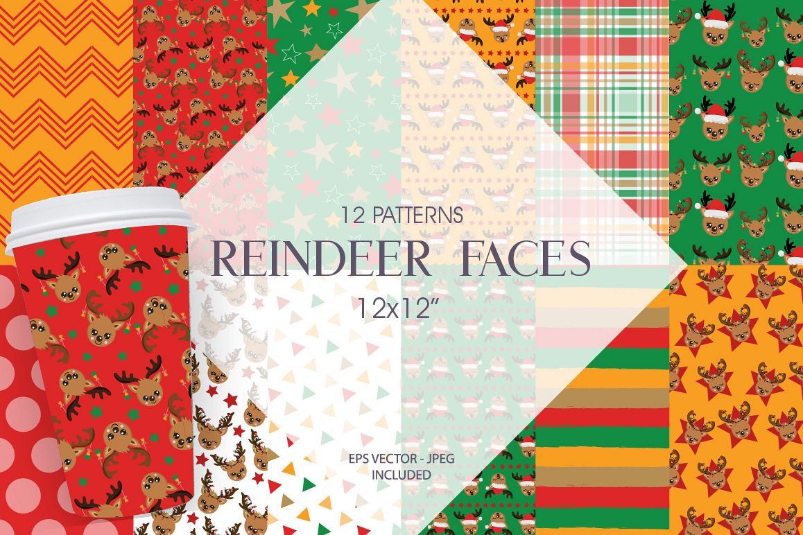 Reindeer faces Pattern collection, vector ai, example image 1