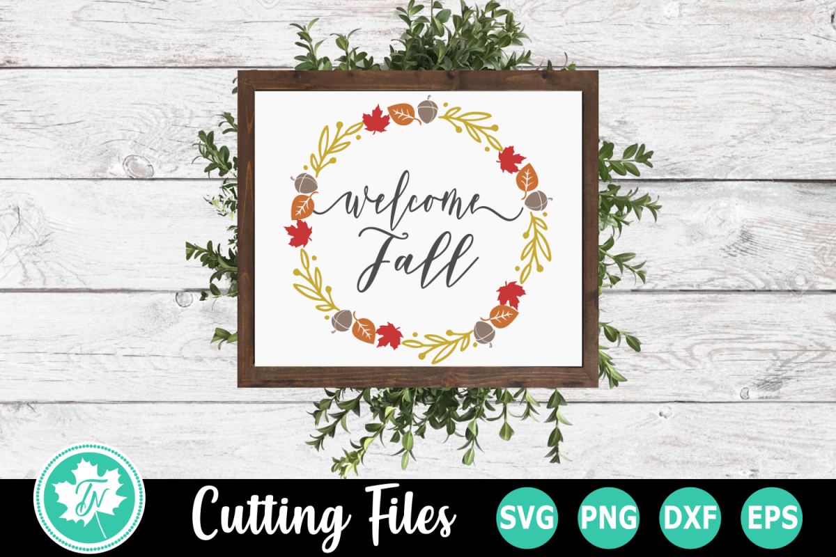 Welcome Fall Wreath - A Fall SVG Cut File example image 1