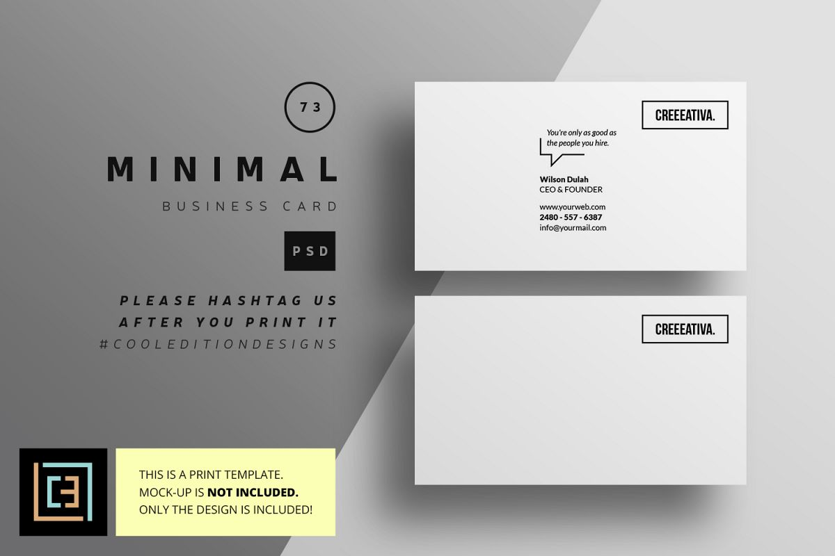 minimal business card bc073 example image 1 - Minimal Business Card