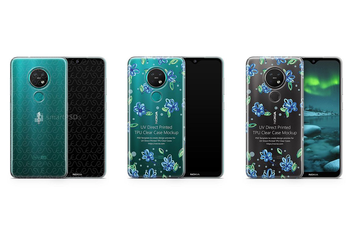 Nokia 7.2 2019 TPU Clear Case Mockup example image 1