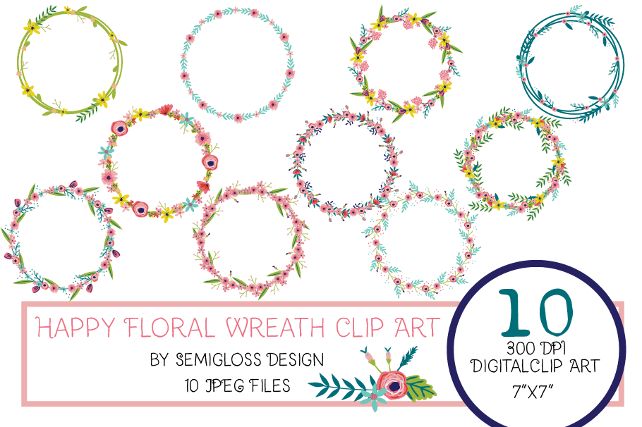 Floral Wreath Clipart with Hand-drawn Flowers example image 1