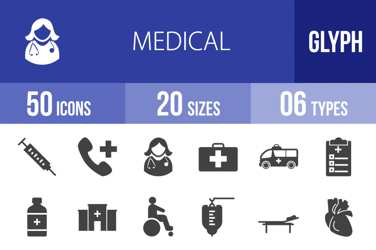 50 Medical Glyph Icons example image 1