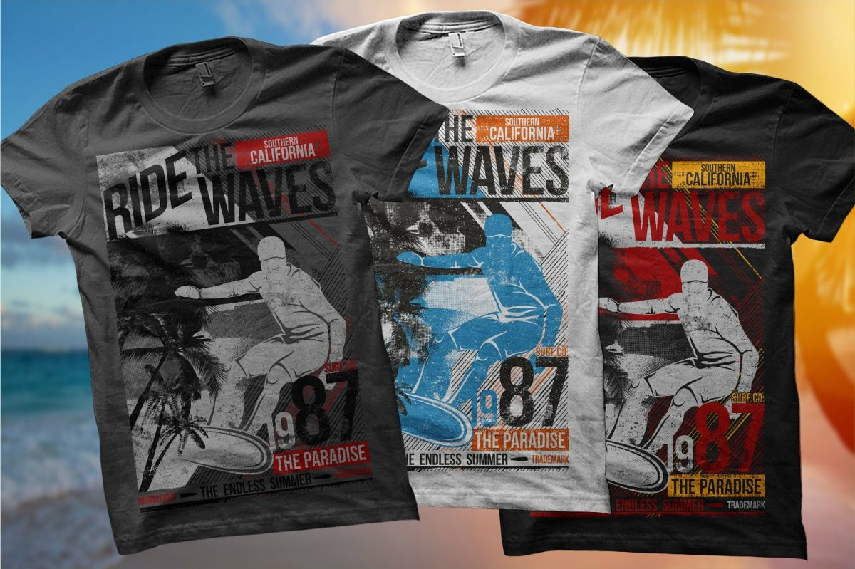 69710b31ad0 Ride The Waves 87 - Surfing TShirt Design Template example image 1