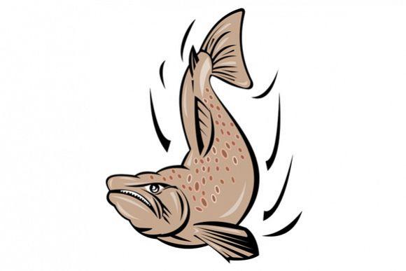 Angry Salmon Fish Jumping Retro example image 1