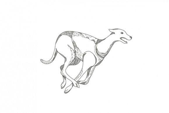 Greyhound Running Doodle Art example image 1