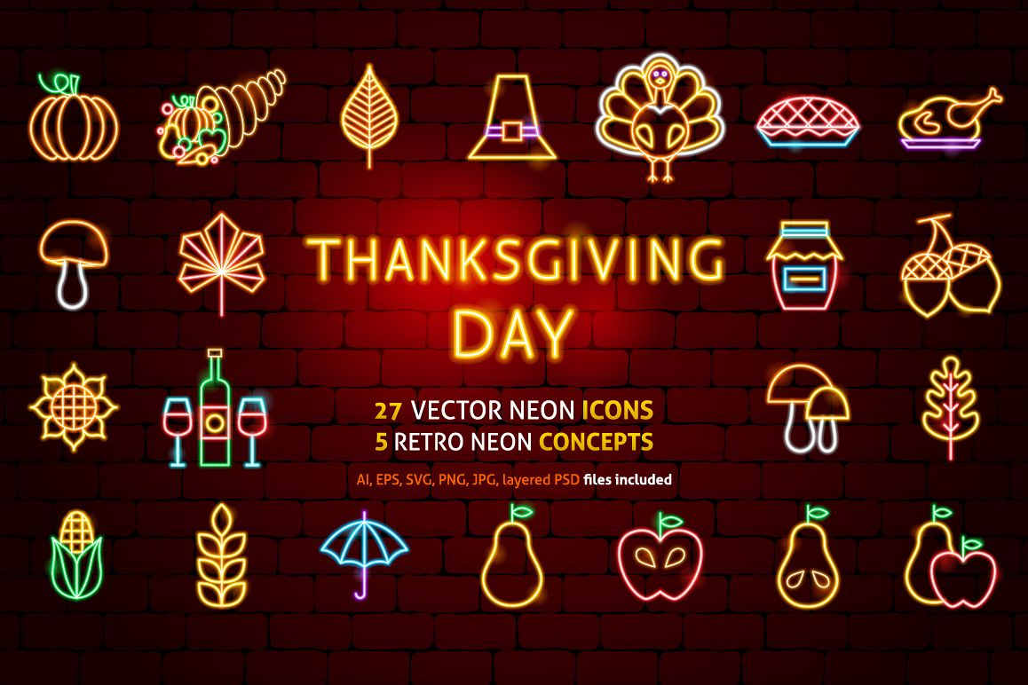 Thanksgiving Day Neon example image 1