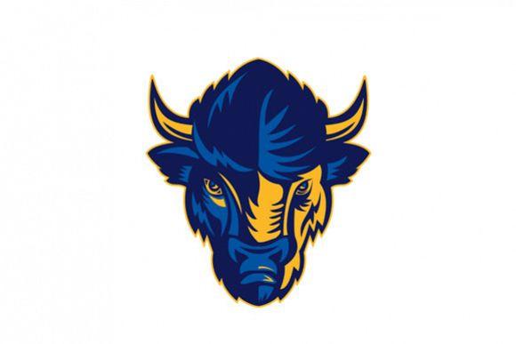 American Bison Head Retro example image 1