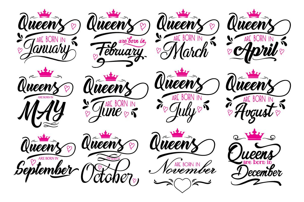 Queens are born in ... Every 12 months Svg,Dxf,Png,Jpg,Eps v example image 1