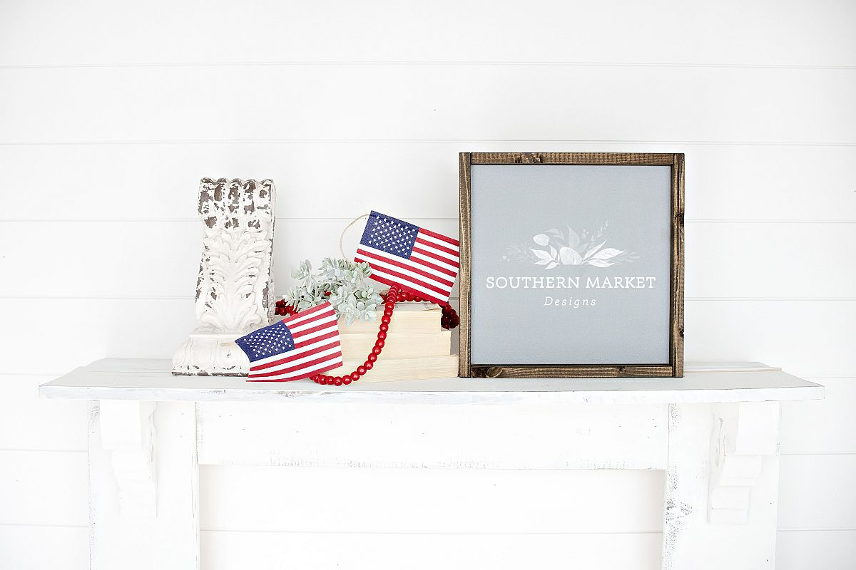 Patriotic Summer Wood 12x12 Sign Mock Up Stock Photo example image 1