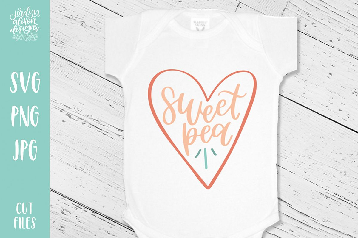 Sweet Pea, Valentine's Baby SVG Cut File example image 1