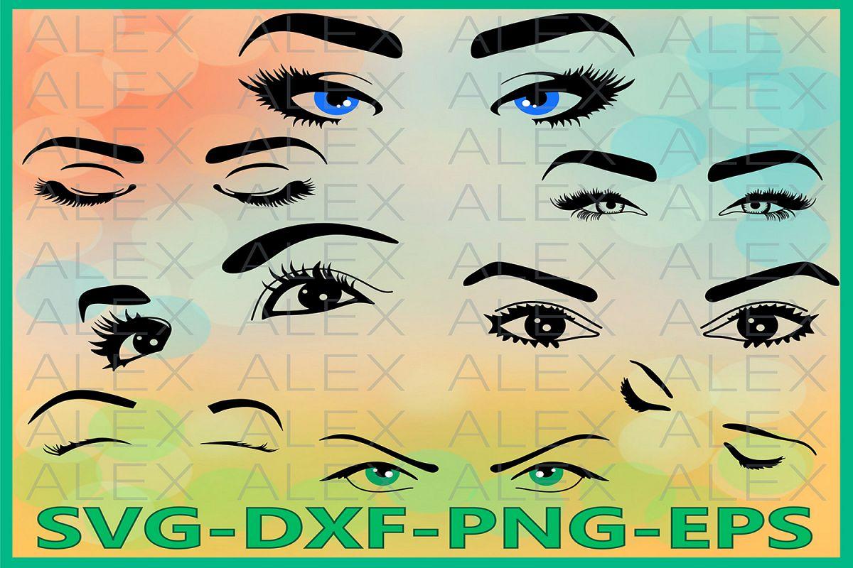Eyelashes SVG, Eyes Svg, Eyebrow svg, Closed eyes example image 1