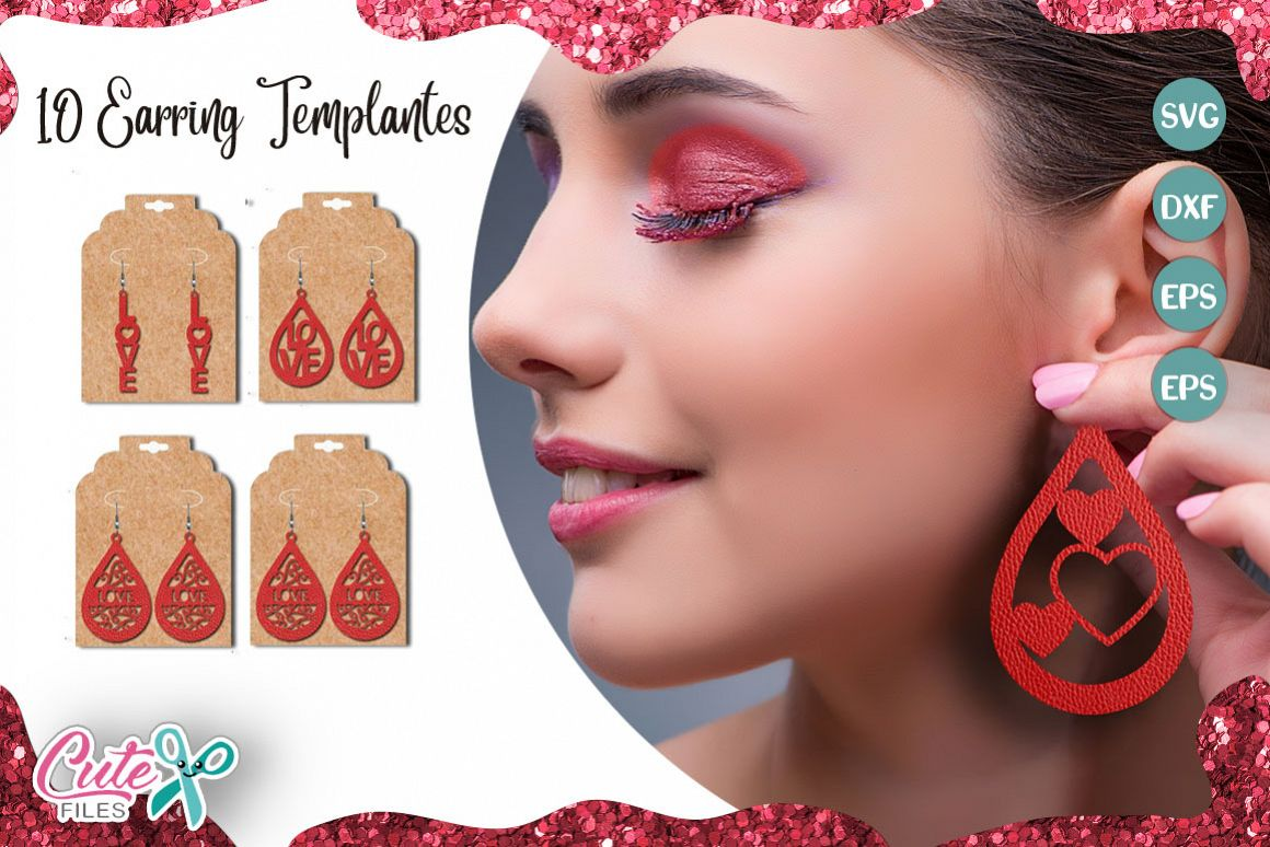 Valentine's day earring templante bundle SVG example image 1