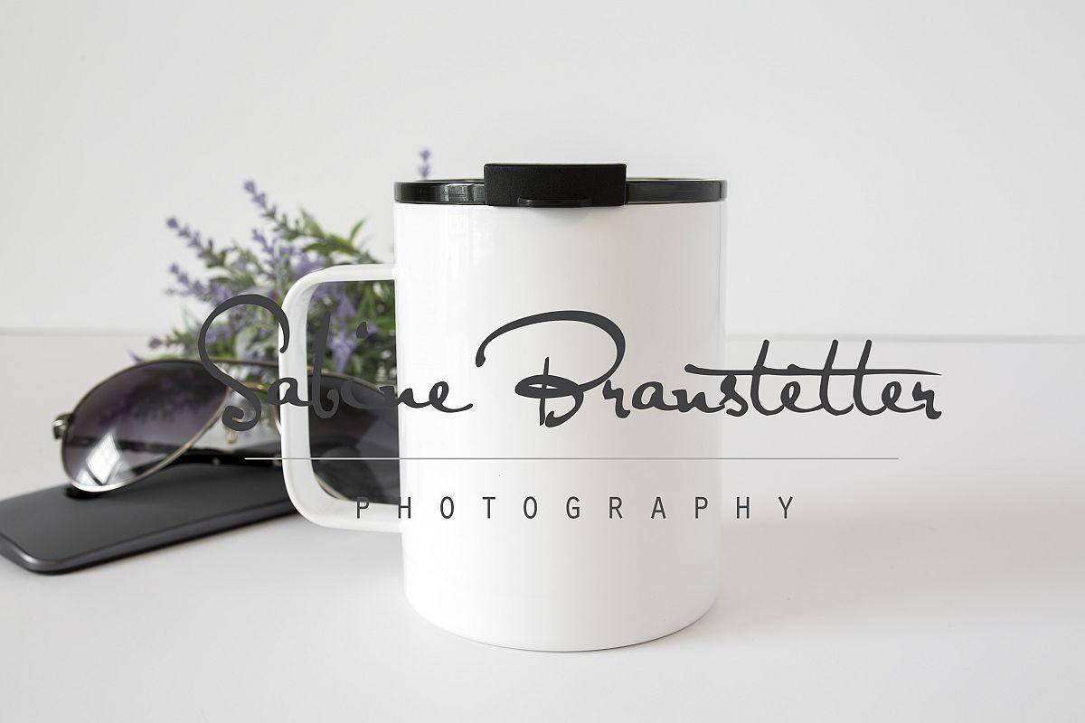 Styled Stock Photography White Insulated Coffee Mug Mockup example image 1