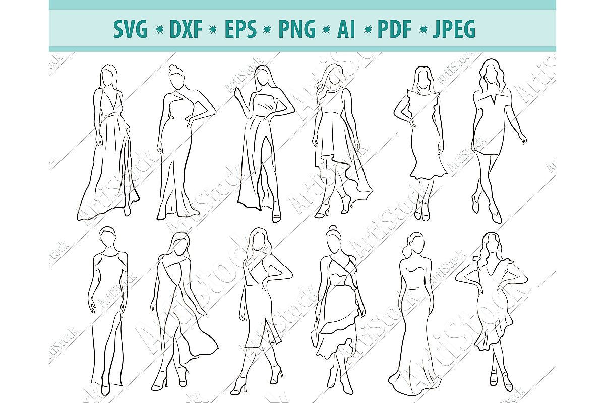 Woman SVG, Lady SVG, Fashion dress, Girl svg,Dxf, Png, Eps example image 1
