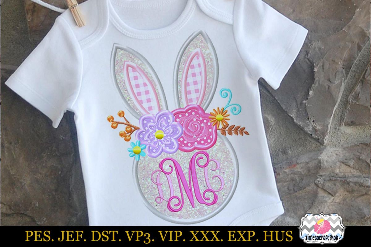 Easter bunny Head with Rose and Daisies Monogram Applique example image 1