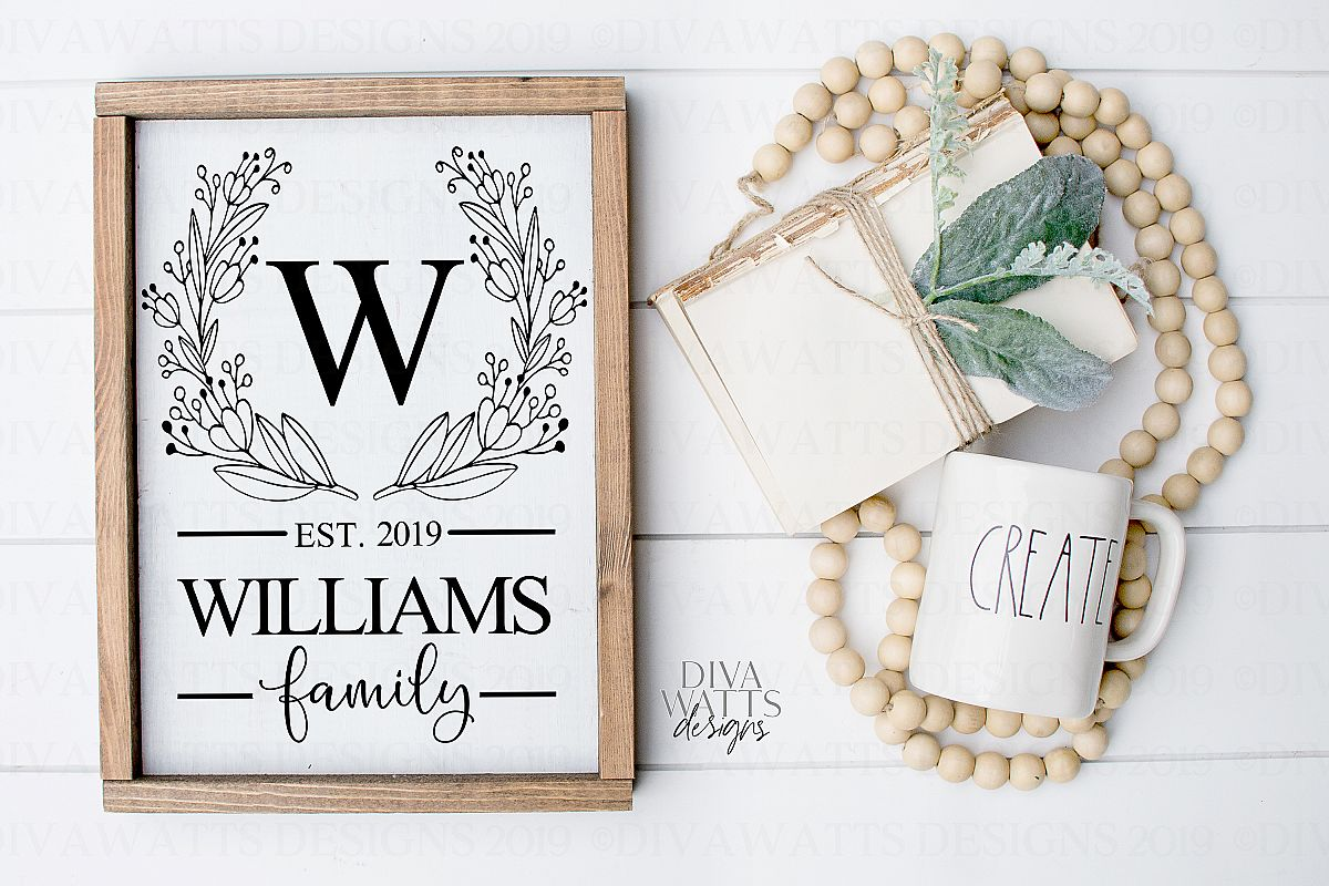 Monogram Wreath Family Last Name Farmhouse Sign SVG example image 1