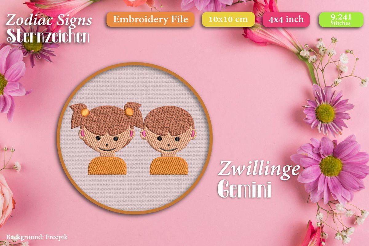 Zodiac sign - Gemini - Embroidery Files example image 1