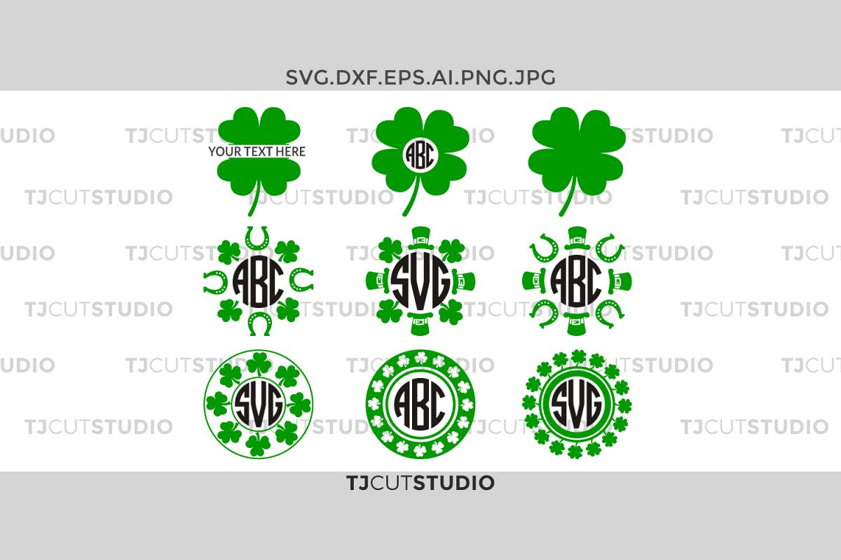 Shamrock monogram svg, Shamrock svgSvg,Shamrock clover monogram circle, Files for Silhouette Cameo or Cricut, Commercial & Personal Use. example image 1