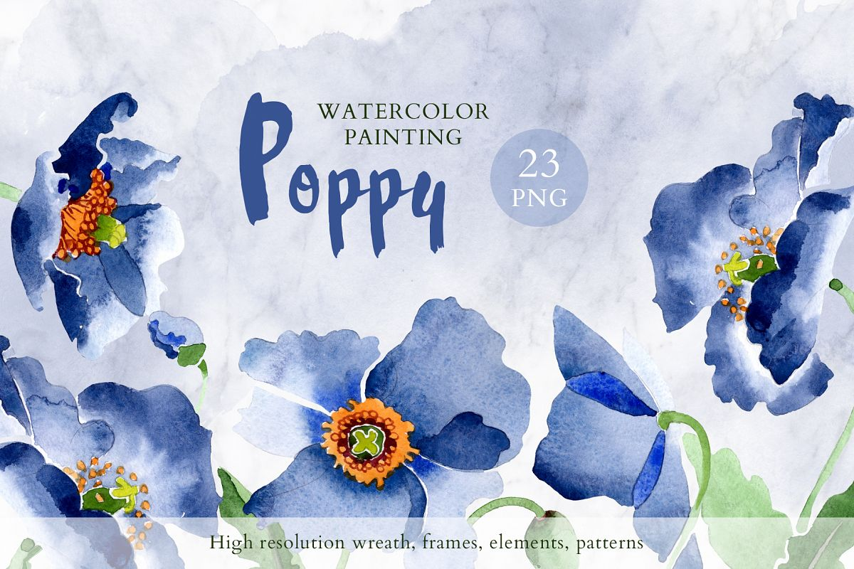 Bouquet of blue poppies Venice watercolor PNG example image 1