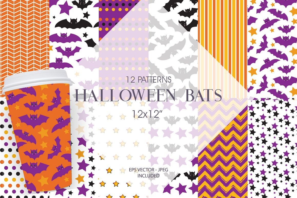 Halloween bats Pattern collection, vector ai, eps and example image 1