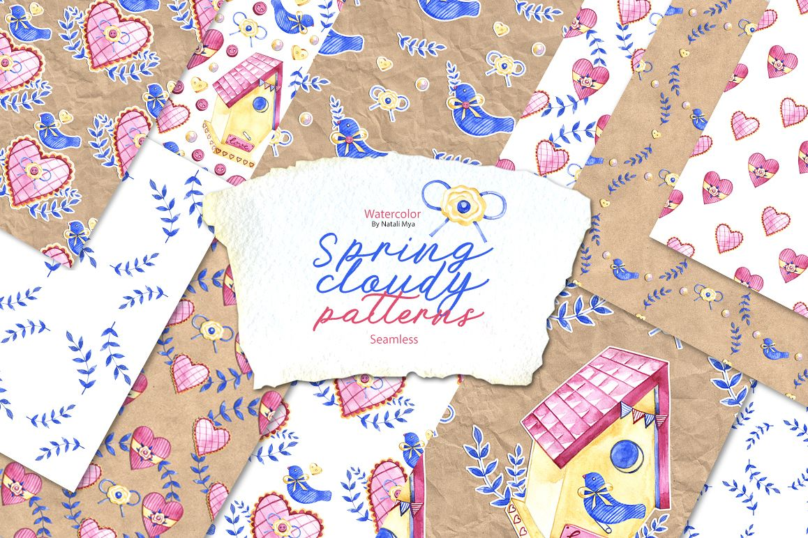 Watercolor spring craft patterns example image 1