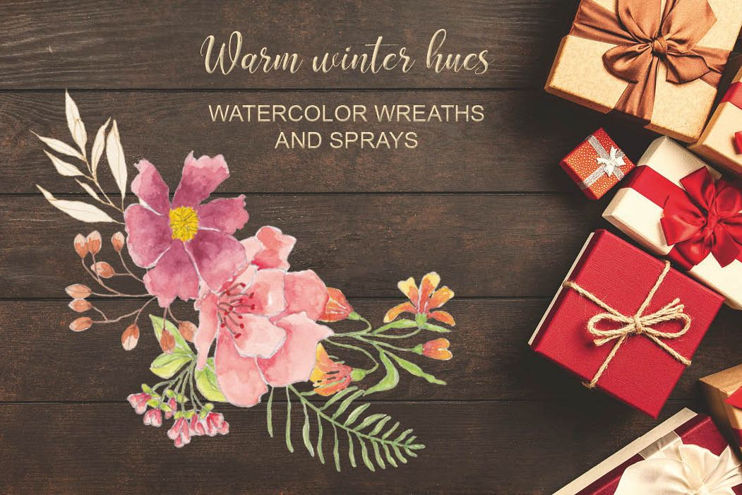 Warm winter hues - watercolor wreaths and sprays example image 1