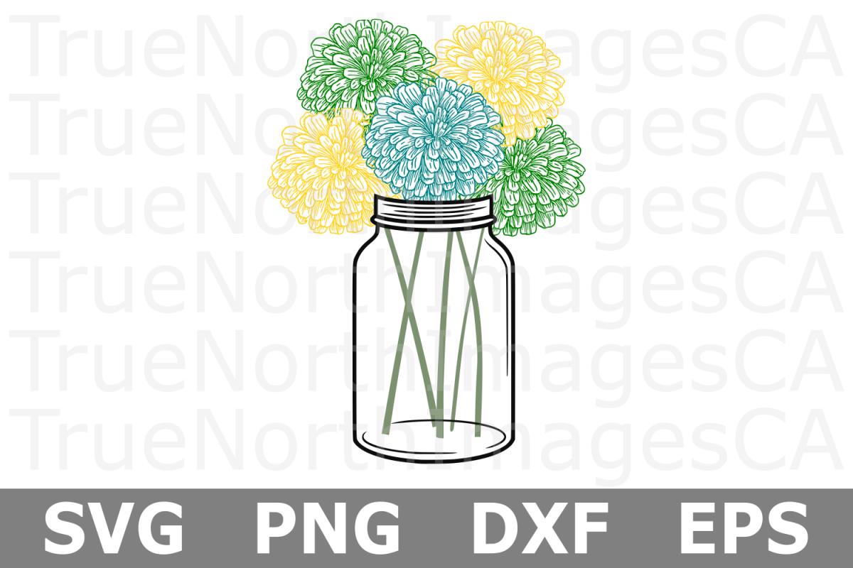 Mason Jar Flowers - A Nature SVG Cut File example image 1