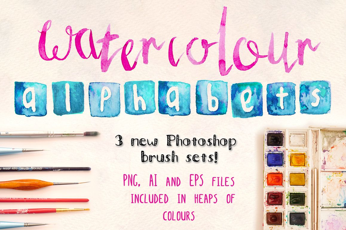 3 Watercolor Alphabet Brush Sets example image 1