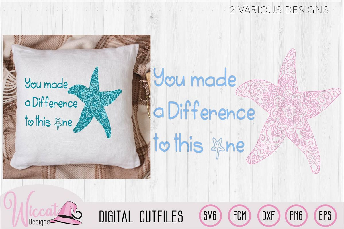 Starfish mandala, positive quote svg example image 1