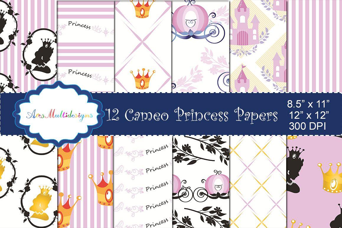 princess digital paper / cameo princess pattern / cameo princess background / high quality digital set 12 x 12 example image 1