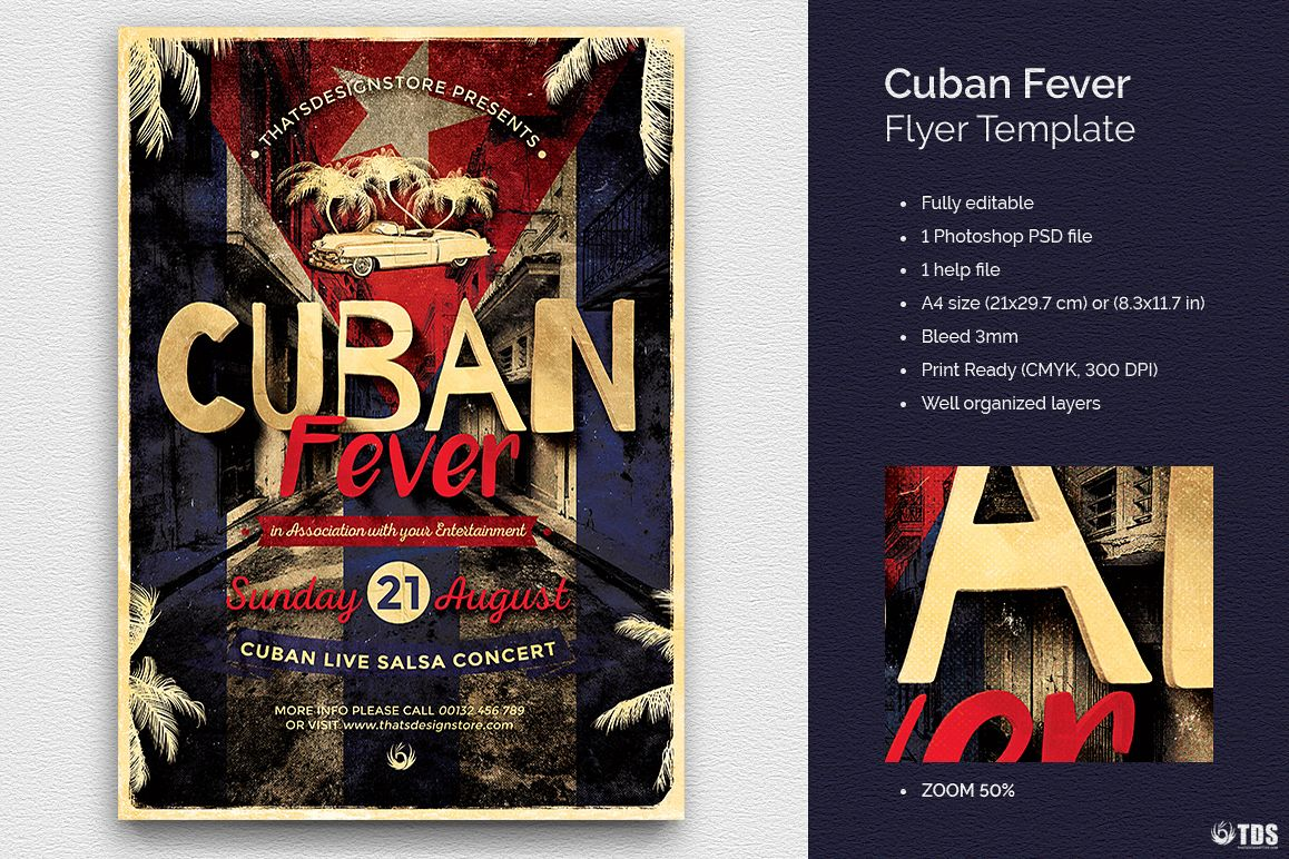 Cuban Fever Flyer Template example image 1